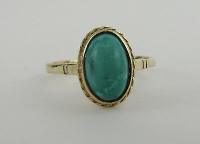 9ct Gold And Oval Turquoise Solitaire Ring, UK Size N, US Size 6.5
