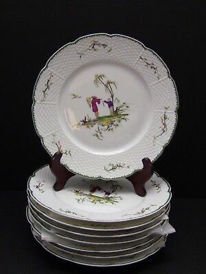 Raynaud Limoges SI KIANG Scene #1 Dinner Plates / Set of 8