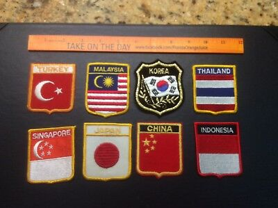 VINTAGE 1960s? Lot of 8 Asia Asian Tourist Travel Patch Korea China ++ Very Nice