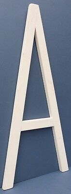 "Stylish Vintage Large Capital Letter A Sans Serif Painted White Wooden 25"" Tall"