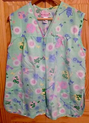 Moon Dance Smock Size L Green Floral Cobbler Apron Snap Up Front Pockets