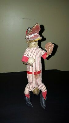 Vintage Baseball Player Real Baby Alligator Taxidermy
