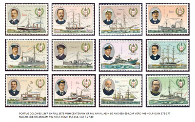 Portug Colonies 1967 Six Full Post Stamps Sets Mnh Centenary Of Naval Military