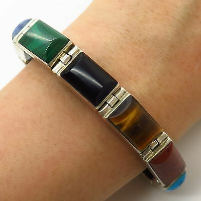 Vtg Mexico Sterling Silver Multi-Color Gemstone Link Reversible Bracelet 6.5""