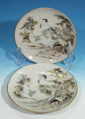 Pair of Antique Japanese Meiji Period Handpainted Porcelain Saucers.