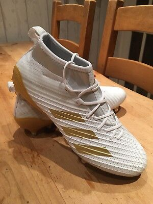 FANTASTIC Adidas Predator FLARE - SG Rugby boots ~ Men's Size 9 White & Gold