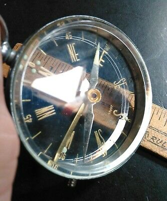 "Vintage Compass See Through Beveled Glass 2.25"" Japan"
