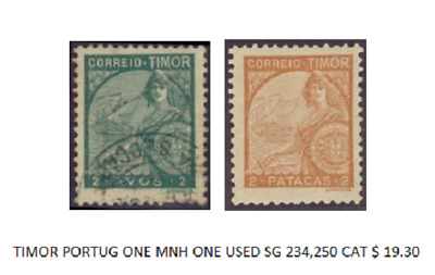 Timor Portug One Mnh One Used Sg 234 & 250 Vintage Postage Stamps Nice Pair Exc