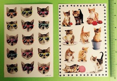 American Greetings Cat Kitten Sticker Sheet Lot~Animals~Feline~Cool~Sunglasses