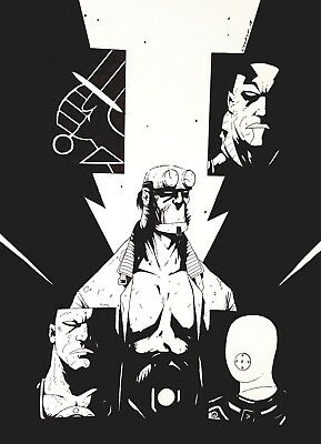 Hellboy BPRD . Original art. Mike Mignola  inspired.