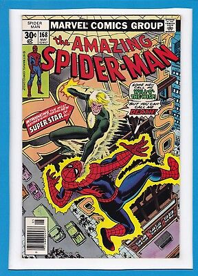 "Amazing Spider-Man #168_May 1977_Vf Minus_Will-O'-The-Wisp_""call Me Death""!"