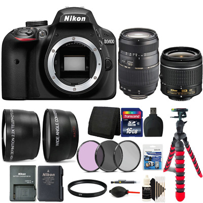 Nikon D3400 DSLR Camera with 18-55mm Lens, 70-300mm Lens and Accessory Kit