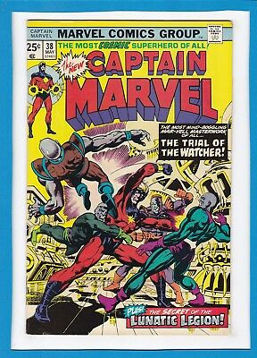"""Captain Marvel #38_May 1975_Very Fine_""""the Trial Of The Watcher""""_Bronze Age!"""