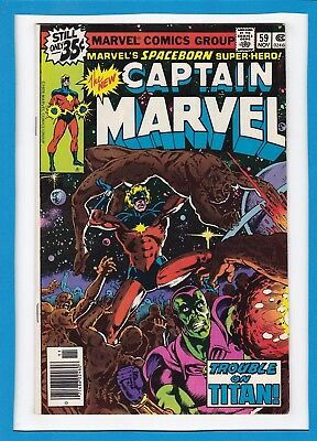 """Captain Marvel #59_Nov 1978_Vf+_Drax The Destroyer_""""the Trouble With Titan""""!"""
