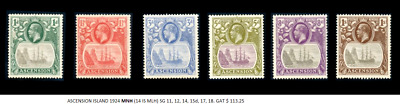 ASCENSION ISLAND 1924 MNH (14 IS MLH) SG 11,12,14,15d,17,18, SIX POST STAMPS SET