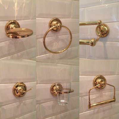 CLASSIC BRASS BATHROOM ACCESSORIES TOILET ROLL TOWEL HOLDER ACCESSORY SET / 1Pce