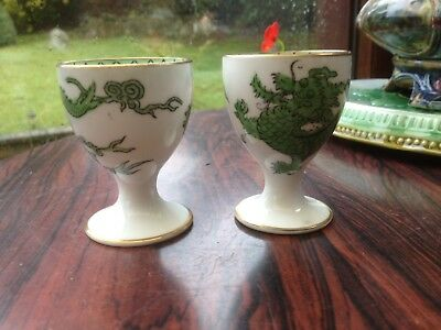 2 Vintage Egg Cups Chinese Dragon And Flaming Pearl Design , Chelaon China