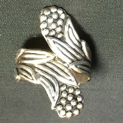 Vintage Mexico Sterling Silver Wrap Spoon Ring Sz 8 Leaves