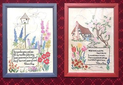 TWO poems by Patience Strong - antique vintage sampler embroidery needlework