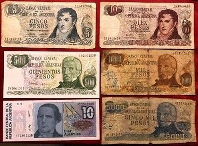 SOUTH AMERICA - 40 x Used Banknotes (10 x Diff countries)