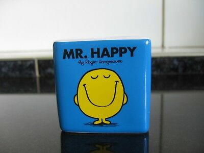 THOIP Mr Men Mr Happy Think Happy Be Happy Square Ceramic Egg Cup