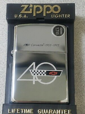 ZIPPO  CORVETTE 40TH Anniversary Lighter. Part of 8 pc set/display  NEW IN CASE!