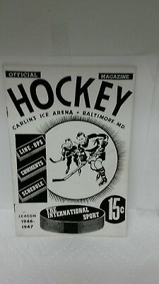 RARE Vintage 1946/1947 Official Hockey Magazine Carlin's Ice Arena Baltimore MD.