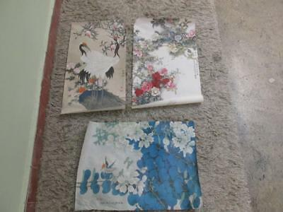 3 Oriental Prints On Thin Paper - Birds, Flowers & Bees In A Scroll Box