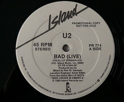 "U2 Bad(live) Rare US Only Double Sided 12""Promo.PR 774."