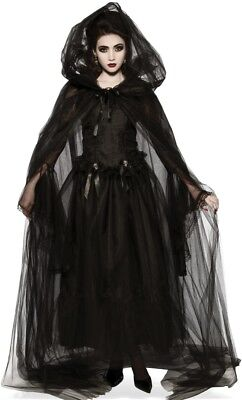 Black Hooded Cape Adult Womens Sheer Sorceress Witch Cloak Gothic Vampiress