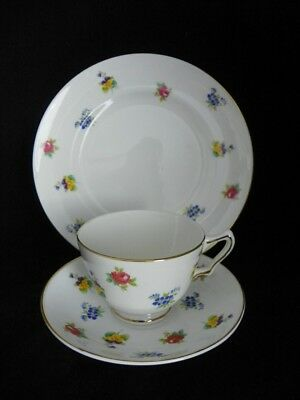 VTG 3 pc Vintage Crown Staffordshire Bone China  Cup and Saucer & Plate Floral