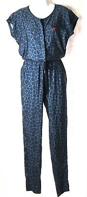 Adidas Women's S Blue Jump Suit Animal Print Tone on Tone Cinch Tie Waist Qq22