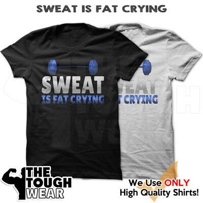 355d7093 SWEAT IS FAT CRYING Gym Rabbit T Shirt Workout BodyBuilding Fitness Lifting  col1
