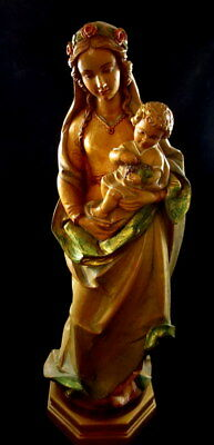 "Vintage Anri Depose Italy Hand Carved Wood Madonna & Christ Child 20 3/4"" H"