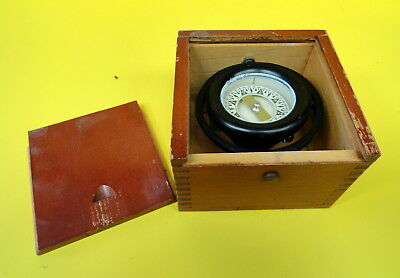 Antique Boat Compass- Cased And Dated 1945