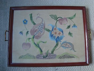 Vintage Wood Tray Brass Handles Embroidered Flowers Embroidery Glazed