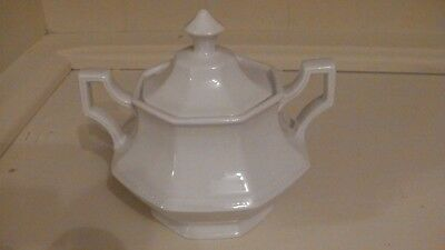Johnson Brothers, White Heritage, Lidded Sugar Bowl - FREE POSTAGE