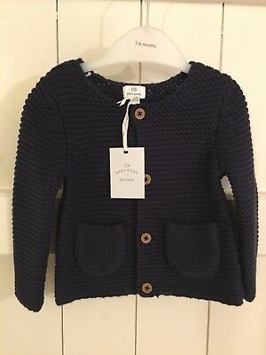 John Lewis Boy Or Girl Cardigan Navy Blue New With Tags 3-6 months