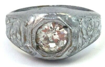 Vintage Art Deco Men'S Ring Etched Silver Tone Metal Clear Rhinestone Jewelry