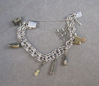 """Charm Bracelet & Charms Vintage Sterling Silver 8 charms 47.6 G 6.5"""""""