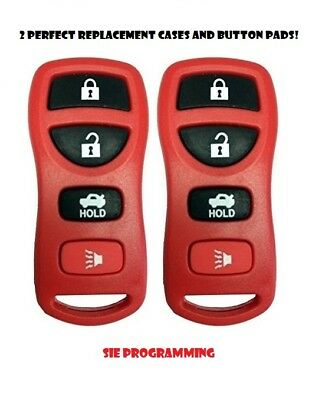 2 Red Replacement Keyless Entry Remote Control Key Fob Case and Pad KBRASTU15