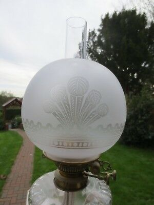 Superb Old Antique Crystal Etched  Round Ball Duplex Oil Lamp Shade
