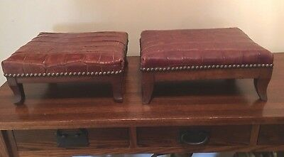 2 Antique Alligator Leather Footstools Brass Studs Wood Base Mayfair London