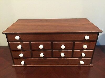 Antque Refinished Watchmakers Jewelers 10 drawer Tabletop cabinet
