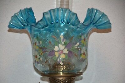 Superb Victorian hand painted glass oil lamp shade