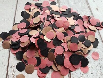 Copper (Rose Gold ),black And Brick Red Circle Confetti Wedding Party/2 Handfuls