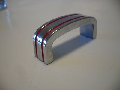Vintage Small Chrome / Brass Drawer Pulls RED Lines Cabinet Handles Hvy. 2.2 oz.