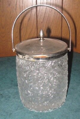 Antique English Pressed Glass Biscuit Barrel With Lid And Handle