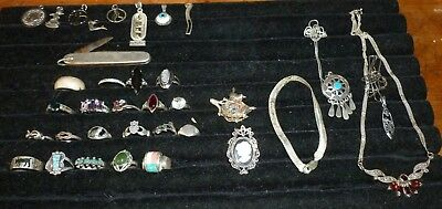 VINTAGE STERLING SILVER/ 925 wearable  JEWELRY LOT 35 pcs  -rings+turquoise+more