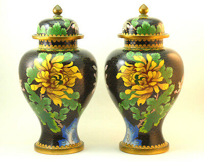Pair Of Antique Late Qing Chinese Cloisonne On Brass Baluster Shaped Vases